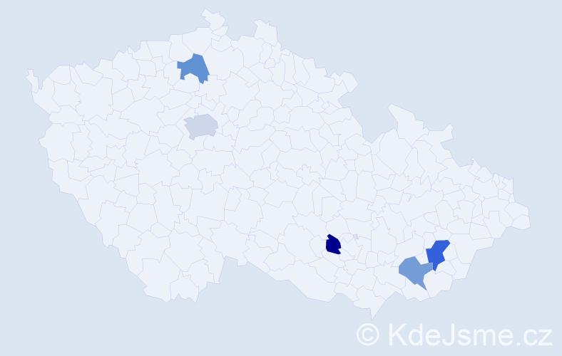 Příjmení: 'Kalakaj', počet výskytů 7 v celé ČR