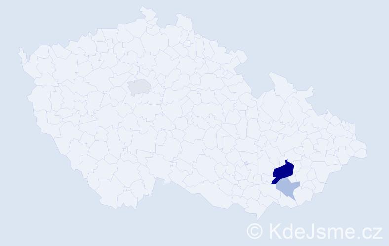 Příjmení: 'Haldina', počet výskytů 9 v celé ČR