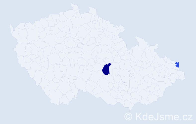Příjmení: 'Filipíová', počet výskytů 2 v celé ČR