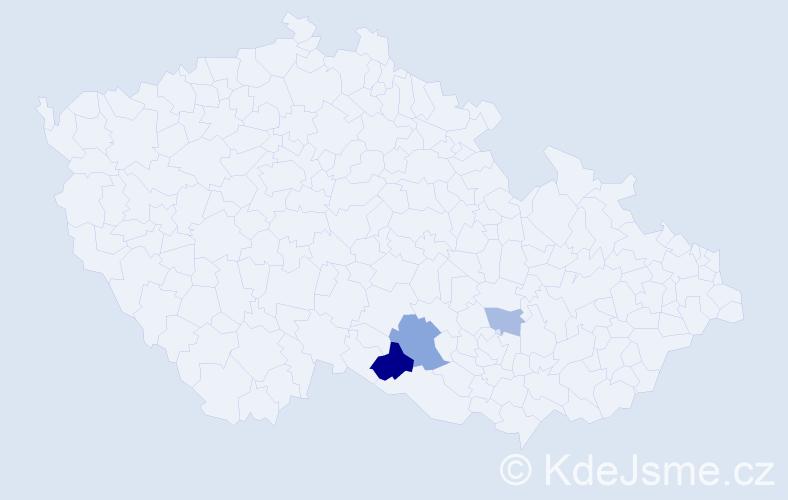 Příjmení: 'Kašparides', počet výskytů 6 v celé ČR