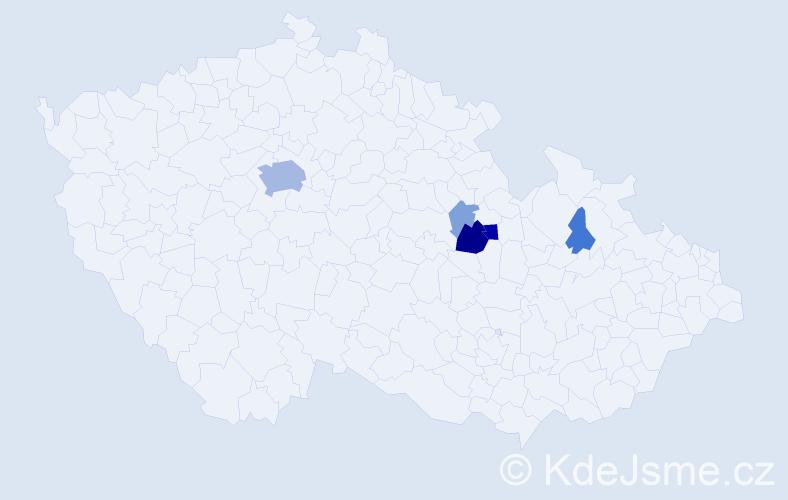Příjmení: 'Hurka', počet výskytů 19 v celé ČR