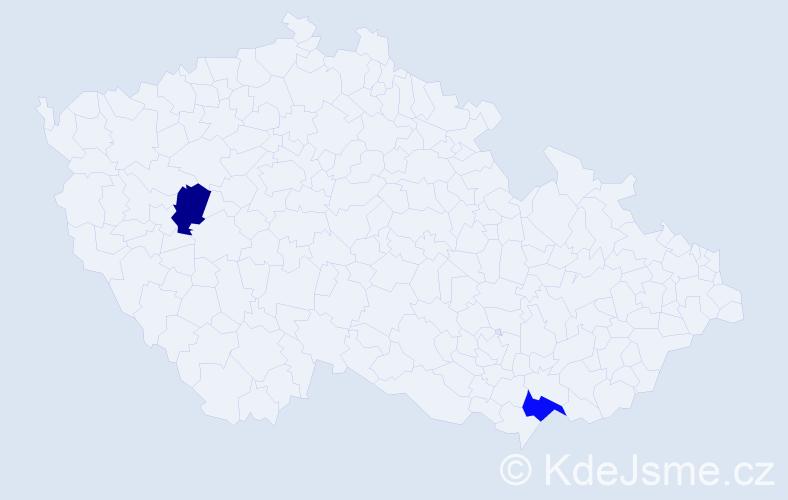 Příjmení: 'Haicer', počet výskytů 2 v celé ČR