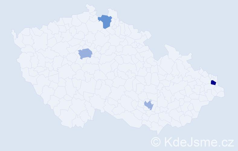 Příjmení: 'Chmelár', počet výskytů 7 v celé ČR
