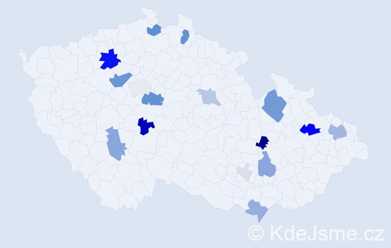 Příjmení: 'Hegyiová', počet výskytů 25 v celé ČR