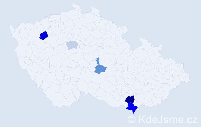 Příjmení: 'Hoštický', počet výskytů 26 v celé ČR