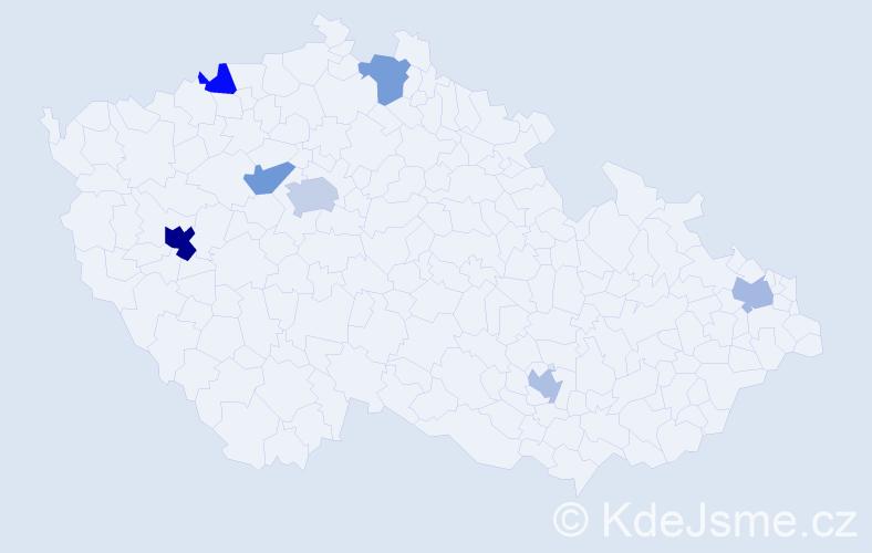 Příjmení: 'Delgado', počet výskytů 11 v celé ČR