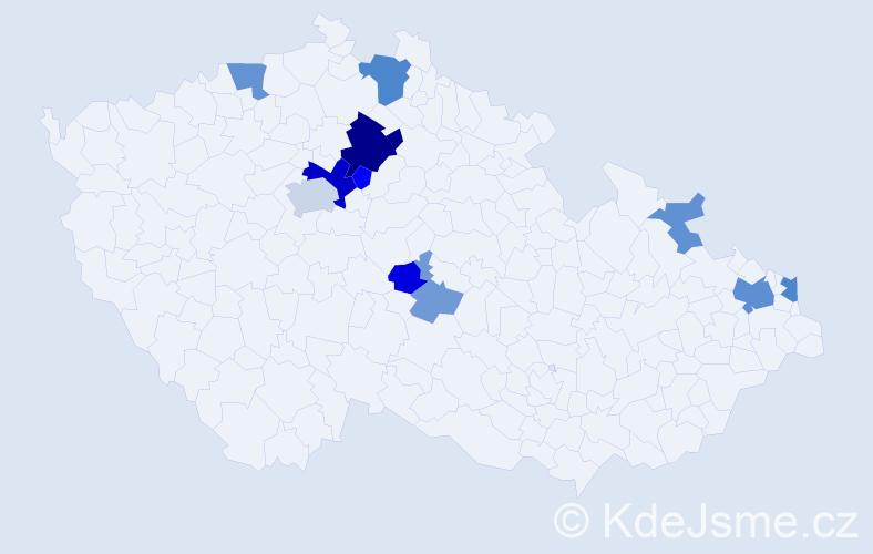 Příjmení: 'Fryk', počet výskytů 28 v celé ČR