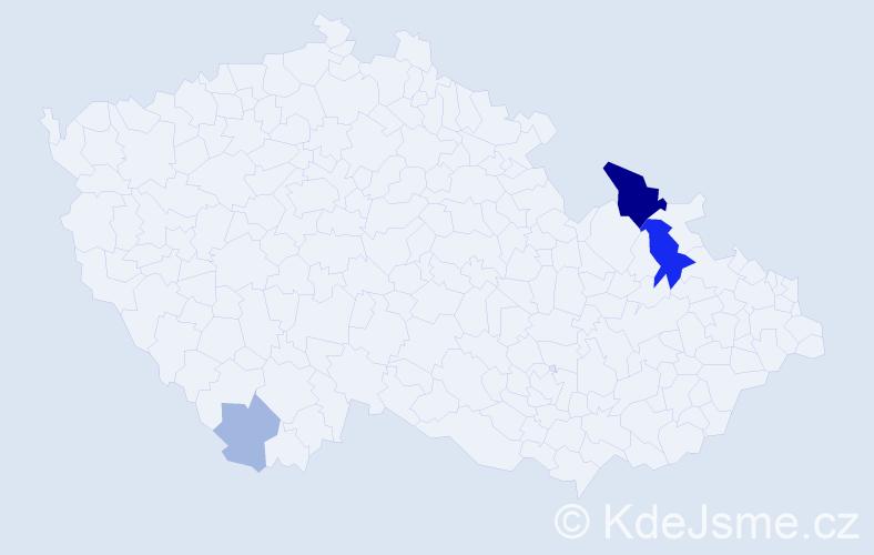 Příjmení: 'Gažak', počet výskytů 11 v celé ČR