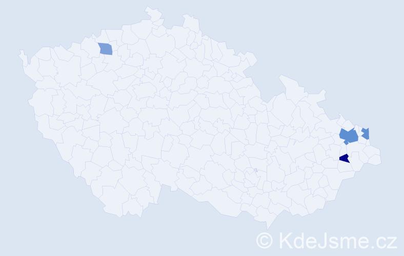 Příjmení: 'Ďatka', počet výskytů 16 v celé ČR