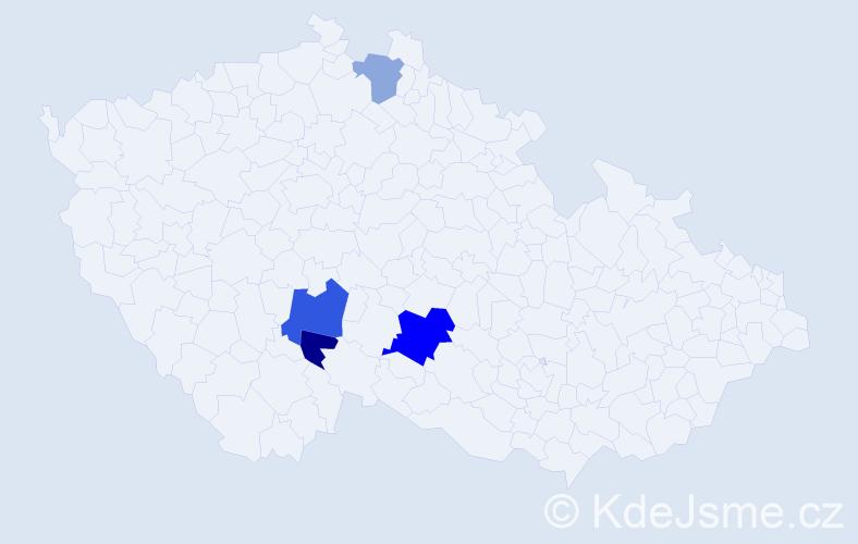 Příjmení: 'Irsová', počet výskytů 7 v celé ČR