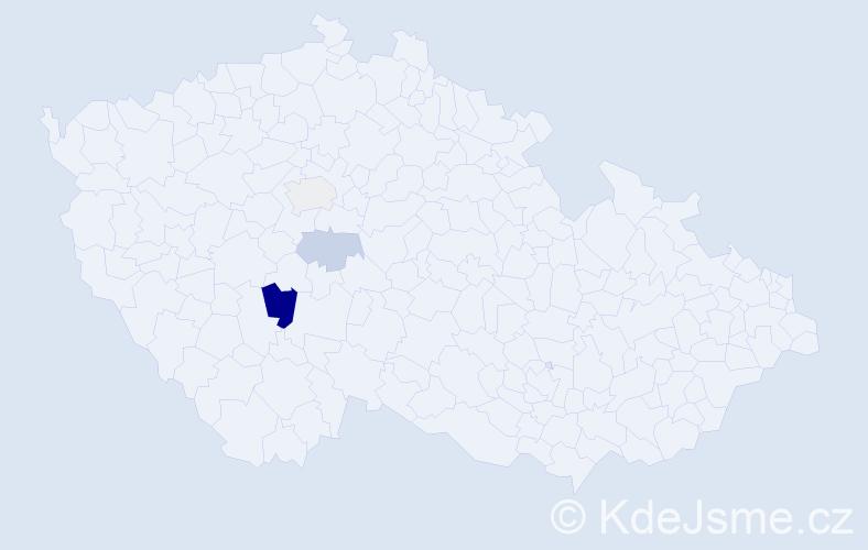 """Příjmení: '""""Kara-Ivanská""""', počet výskytů 6 v celé ČR"""