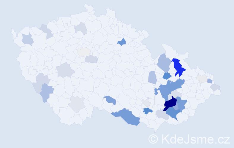 Příjmení: 'Klapilová', počet výskytů 106 v celé ČR