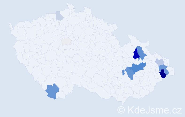 Příjmení: 'Halabica', počet výskytů 29 v celé ČR
