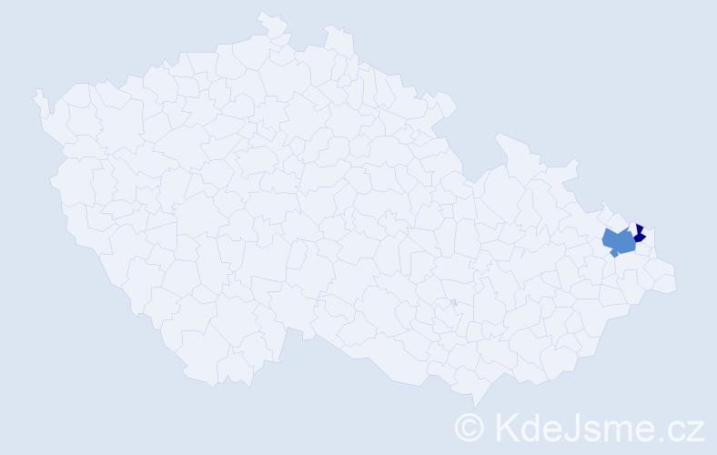 Příjmení: 'Jajcaj', počet výskytů 6 v celé ČR