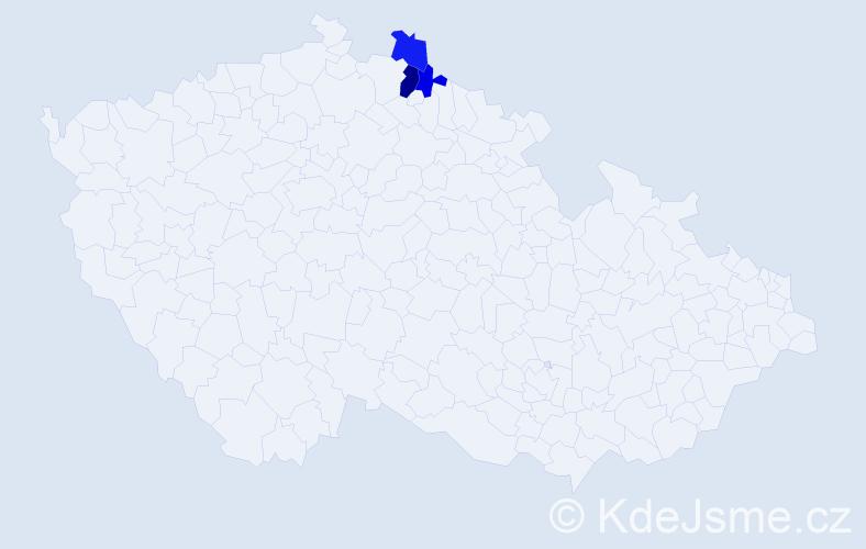 Příjmení: 'Kaschelová', počet výskytů 5 v celé ČR