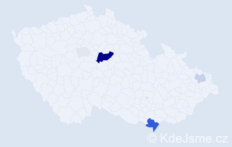 Příjmení: 'Kun', počet výskytů 8 v celé ČR