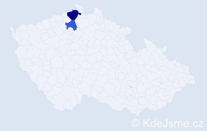 Příjmení: 'Hekrdle', počet výskytů 3 v celé ČR