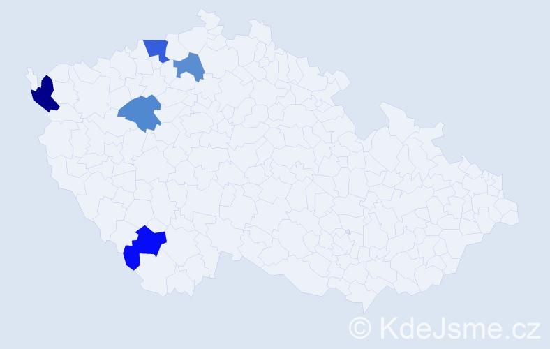 Příjmení: 'Býnová', počet výskytů 7 v celé ČR