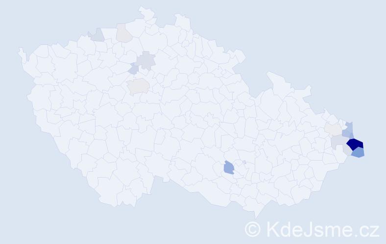 Příjmení: 'Adamiec', počet výskytů 54 v celé ČR