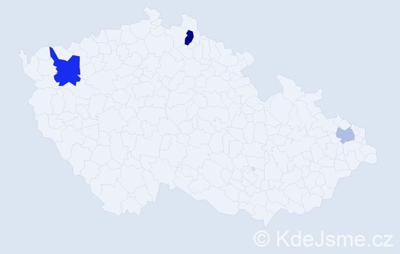 Příjmení: 'Kajtazi', počet výskytů 5 v celé ČR