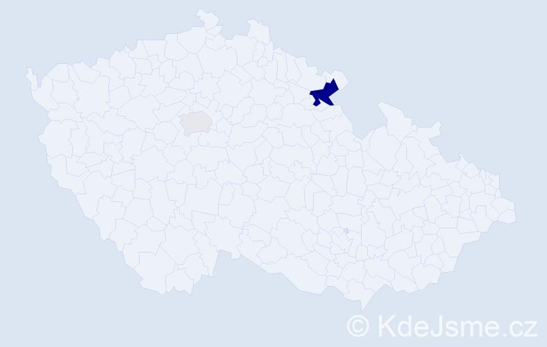 Příjmení: 'Hainzelová', počet výskytů 5 v celé ČR