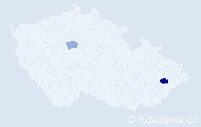 Příjmení: 'Danjár', počet výskytů 4 v celé ČR