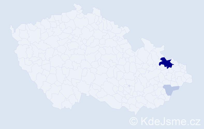 Příjmení: 'Kopťák', počet výskytů 12 v celé ČR