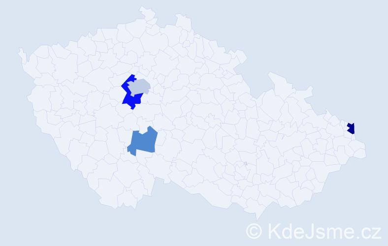 Příjmení: 'Čapčík', počet výskytů 7 v celé ČR