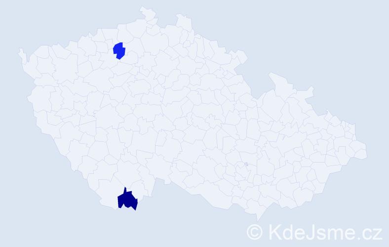 Příjmení: 'Čaldaroská', počet výskytů 2 v celé ČR