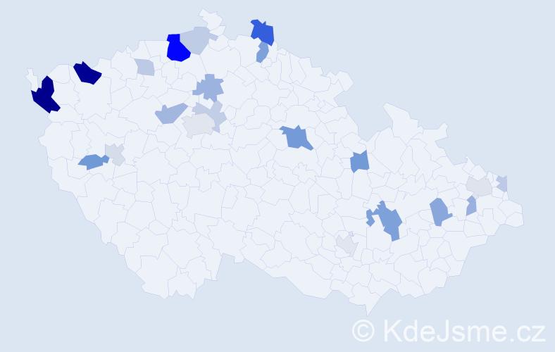 Příjmení: 'Červeňaková', počet výskytů 49 v celé ČR