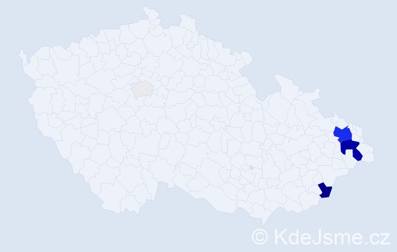 Příjmení: 'Cisovský', počet výskytů 22 v celé ČR