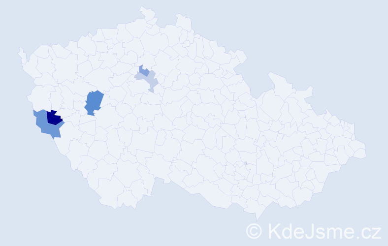Příjmení: 'Hatlmanová', počet výskytů 9 v celé ČR