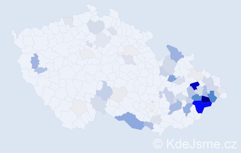 Příjmení: 'Chuděj', počet výskytů 205 v celé ČR