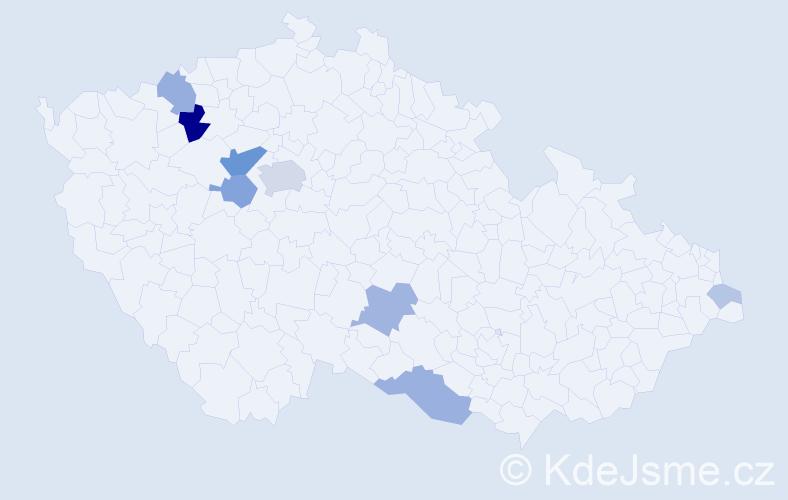 Příjmení: 'Mangová', počet výskytů 24 v celé ČR