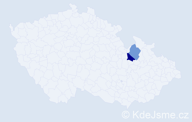 Příjmení: 'Cygrýd', počet výskytů 5 v celé ČR