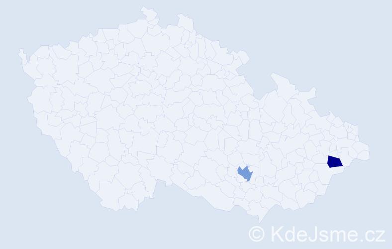 Příjmení: 'Ćirić', počet výskytů 3 v celé ČR
