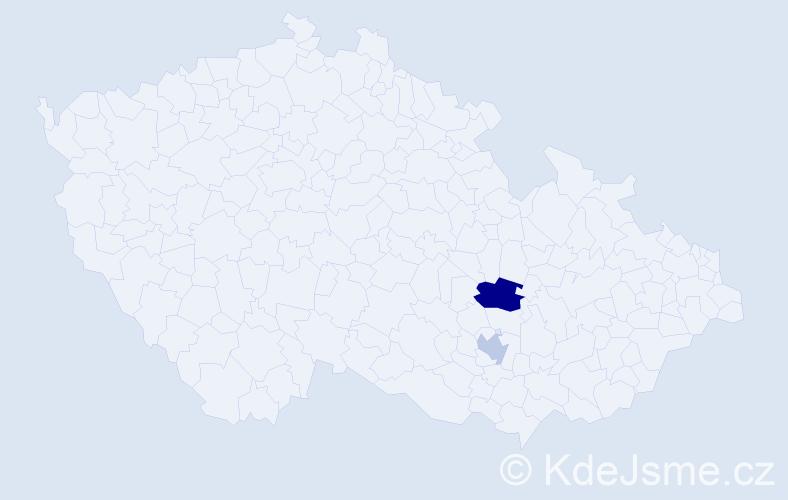 Příjmení: 'Danác', počet výskytů 3 v celé ČR
