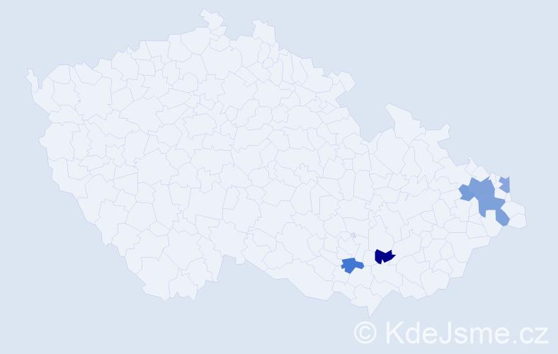 Příjmení: 'Bohdová', počet výskytů 17 v celé ČR