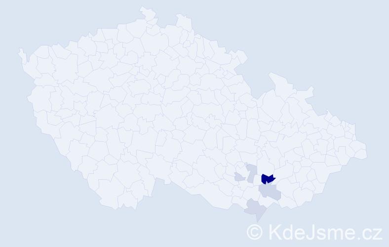 Příjmení: 'Jáchimiáková', počet výskytů 7 v celé ČR