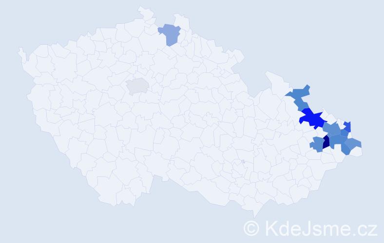 Příjmení: 'Kolich', počet výskytů 20 v celé ČR