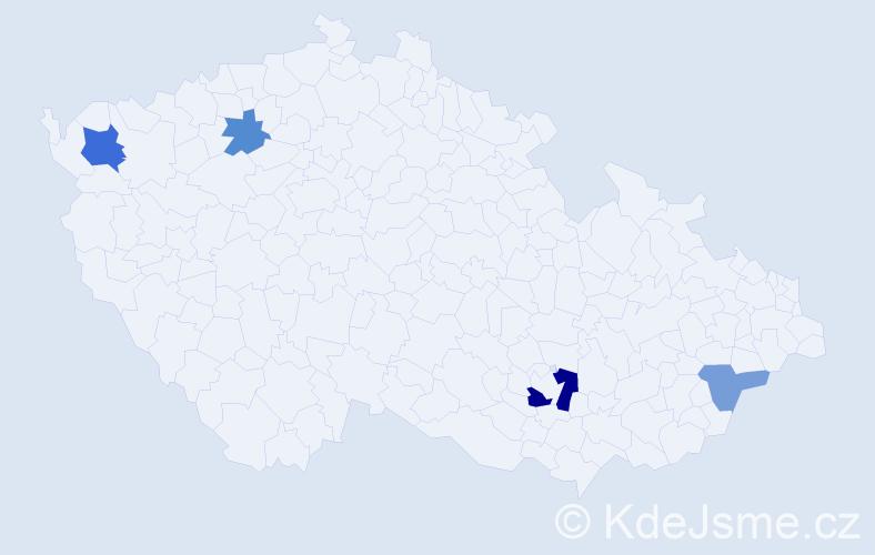 Příjmení: 'Komjaty', počet výskytů 7 v celé ČR