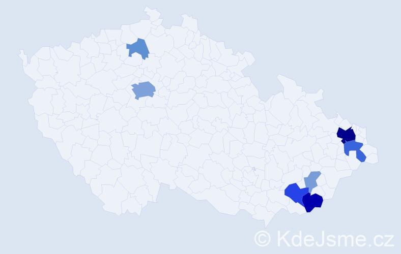Příjmení: 'Kanyzová', počet výskytů 23 v celé ČR