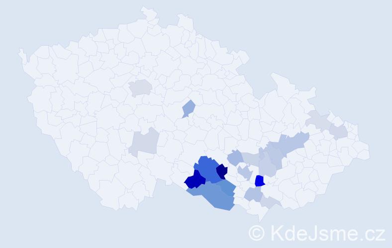 Příjmení: 'Brančová', počet výskytů 58 v celé ČR