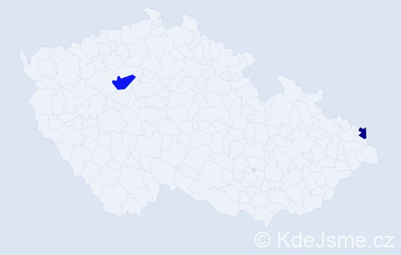 Příjmení: 'Gavalierová', počet výskytů 2 v celé ČR