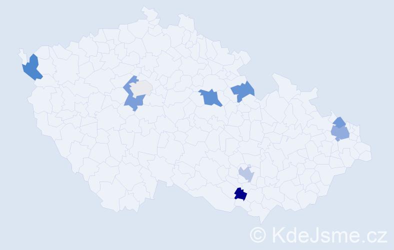 Příjmení: 'Eppingerová', počet výskytů 16 v celé ČR