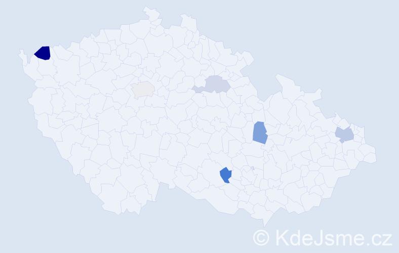 Příjmení: 'Košteková', počet výskytů 9 v celé ČR