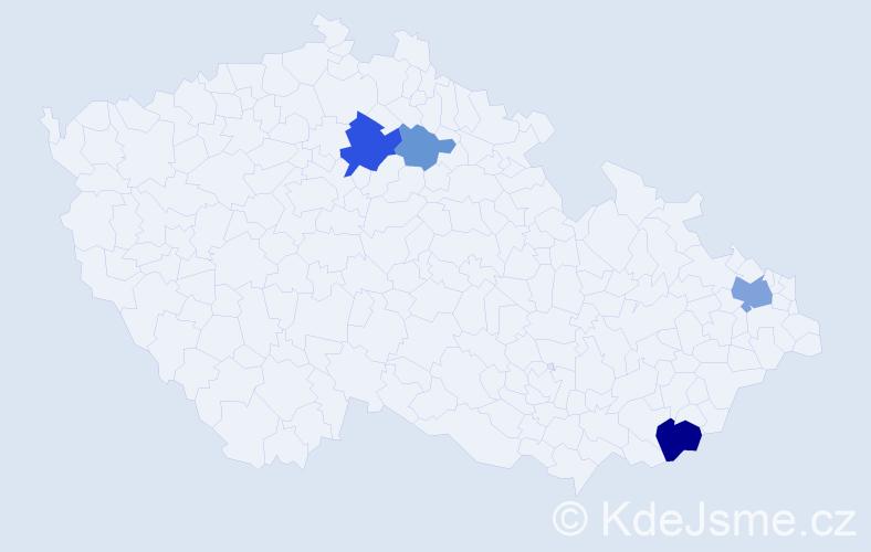 Příjmení: 'Harvanec', počet výskytů 10 v celé ČR
