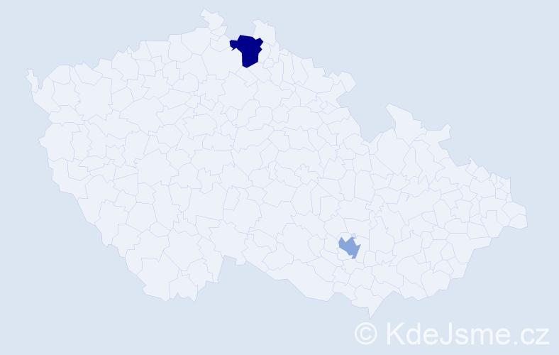 Příjmení: 'Čmilanská', počet výskytů 3 v celé ČR