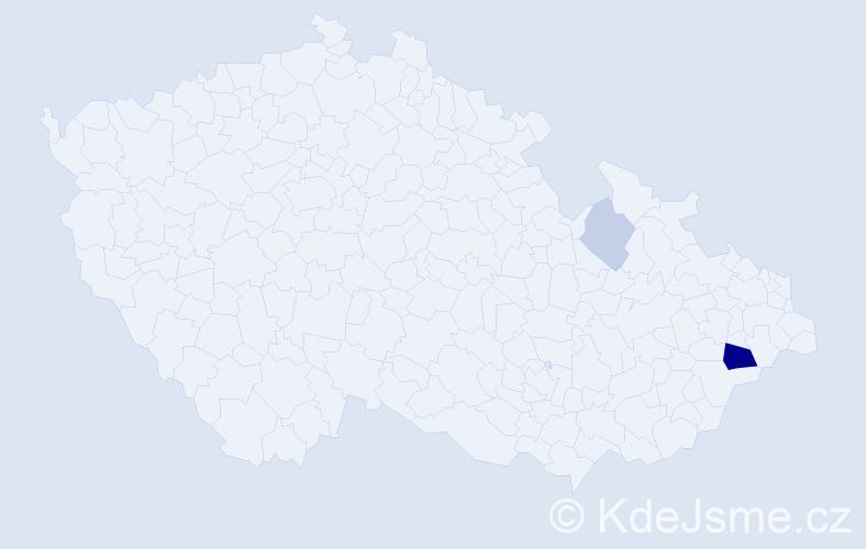 Příjmení: 'Balejíková', počet výskytů 13 v celé ČR