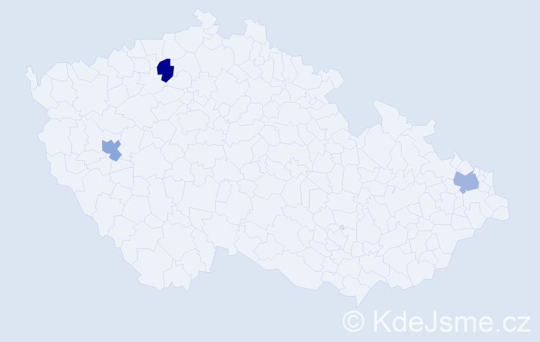 Příjmení: 'Jablonka', počet výskytů 13 v celé ČR